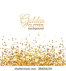 Light frame of placer gold bright sparkles glittering confetti on a white background