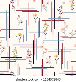 Light and gentle Seamless pattern delicate meadow many kind of  flowers vector with check or grid check for fashion ,wallpaper ,book ETC on  white background