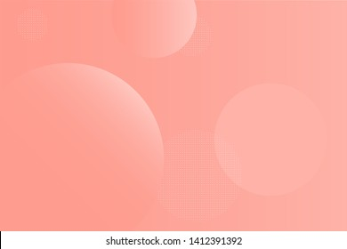Light geometric abstract background with pink gradient smooth circles. Creativity and moder template for vcards, banners, sites and social media. Flat circles over a gradient with some dotted circles