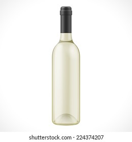 Light Glass Wine Cider Bottle On White Background Isolated. Product Packing. Vector EPS10
