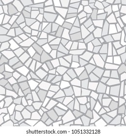 Light gray abstract mosaic seamless pattern. Vector background. For design and decorate backdrop. Endless texture. Ceramic tile fragments. Broken tiles trencadis. Neutral light background