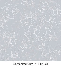 Light gray background pattern texture with orchid flowers