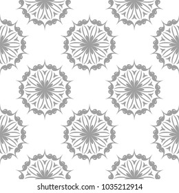 Light gray floral design on white background. Seamless pattern for textile and wallpapers
