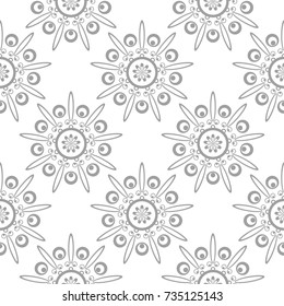 Light gray floral ornament on white background. Seamless pattern for textile and wallpapers