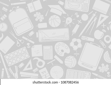 Light gray stationery random on gray background. Seamless pattern background design for school and education in vector illustration.