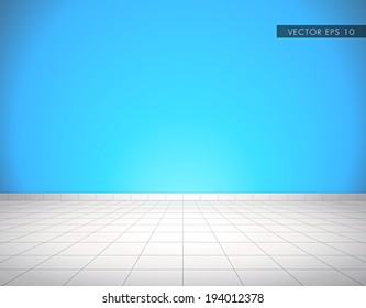 Light gray tiled glossy floor with blue wall - beautiful vector background
