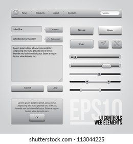 Light Gray UI Controls Web Elements: Buttons, Comments, Sliders, Message Box