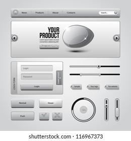 Light Gray UI Controls Web Elements 3: Buttons, Login Form, Authorization, Sliders, Banner, Box, Preloader, Loader, Tag Labels
