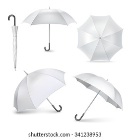 Light gray umbrellas  and parasols in various positions  open and folded pictograms collection realistic  isolated vector illustration
