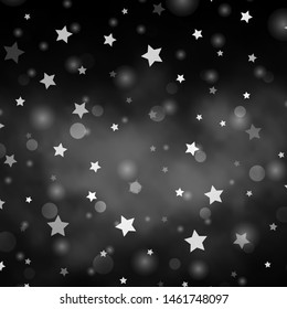 Light Gray vector background with circles, stars. Illustration with set of colorful abstract spheres, stars. Pattern for design of fabric, wallpapers.