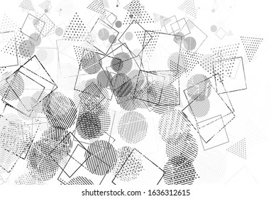 Light Gray vector pattern with polygonal style with circles. Abstract gradient illustration with circles, triangles, cubes. Pattern for websites.