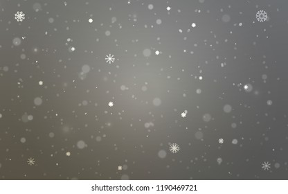 Light Gray vector texture with colored snowflakes. Snow on blurred abstract background with gradient. New year design for your business advert.