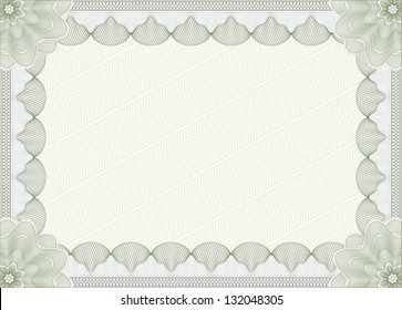 Light green blank certificate template