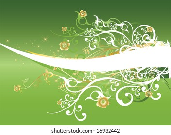 A light green gradient background with intricate orange and white swirls and arabesques