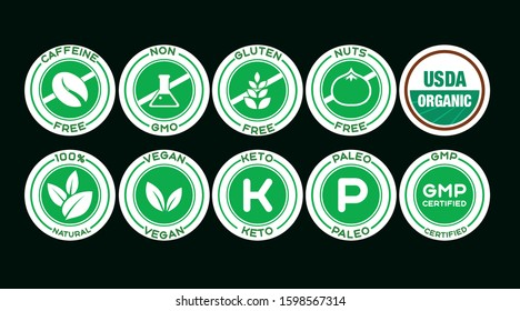 light green icons on a dark green background with the inscription: caffeine free, non GMO, gluten free, nuts free, USDA organic, 100% natural, vegan, keto,paleo, GMP certified
