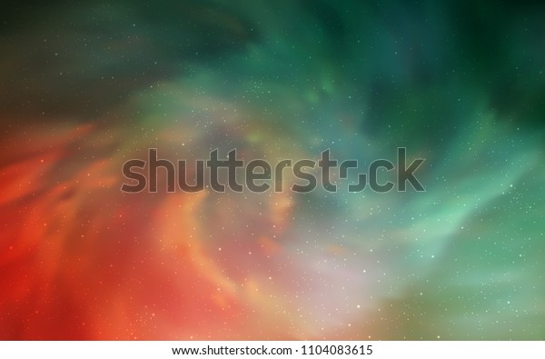 Light Green, Red vector template with space stars. Glitter abstract illustration with colorful cosmic stars. Best design for your ad, poster, banner.