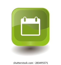 Light green square button with white calendar sign, vector design for website