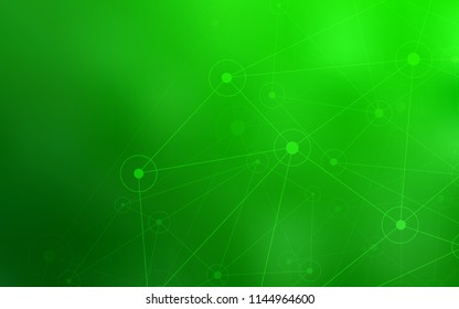 Light Green vector background with bubbles, lines. Glitter abstract illustration with connection of triangle structure. Beautiful design for your business advert.