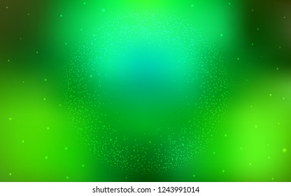 Light Green vector background with galaxy stars. Blurred decorative design in simple style with galaxy stars. Pattern for futuristic ad, booklets.