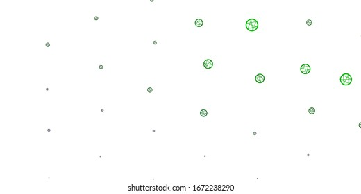 Light Green vector background with occult symbols. Illustration with magical signs of spiritual power. Background for esoteric, mystic designs.