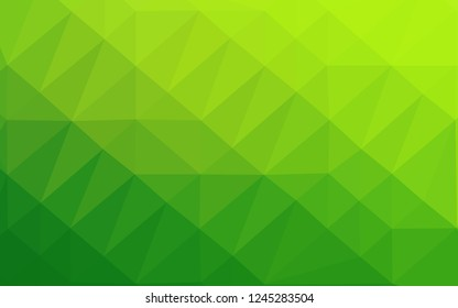 Light Green vector blurry triangle pattern. Triangular geometric sample with gradient. Brand new style for your business design.