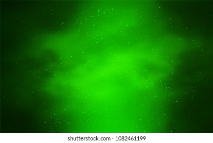 Light Green vector cover with astronomical stars. Space stars on blurred abstract background with gradient. Pattern for astronomy websites.