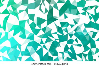 Light Green vector gradient triangles texture. Glitter abstract illustration with an elegant triangles. Brand new design for your business.