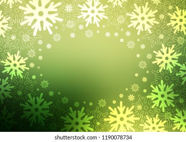 Light Green vector layout with bright snowflakes. Modern geometrical abstract illustration with crystals of ice. The pattern can be used for year new websites.