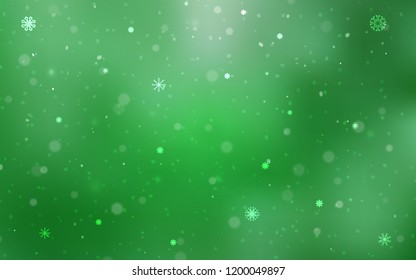 Light Green vector layout with bright snowflakes. Glitter abstract illustration with crystals of ice. The pattern can be used for year new  websites.