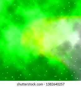 Light Green vector pattern with abstract stars. Colorful illustration in abstract style with gradient stars. Design for your business promotion.