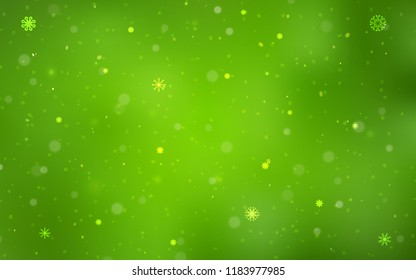 Light Green vector pattern with christmas snowflakes. Shining colored illustration with snow in christmas style. New year design for your business advert.