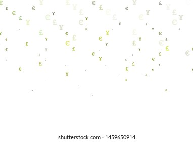 Light Green vector pattern with EUR, JPY, GBP. Blurred design in with symbols of EUR, JPY, GBP. Smart design for your business advert of economic, wealth.
