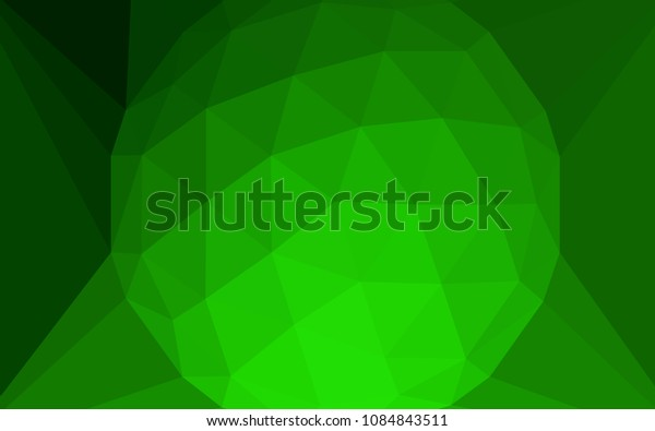 Light Green vector polygon abstract background with a gem in a centre. Colorful illustration with gradient. Triangular pattern for your design.