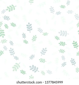 Light Green vector seamless elegant wallpaper with leaves, branches. Leaves, branches in natural style on white background. Template for business cards, websites.