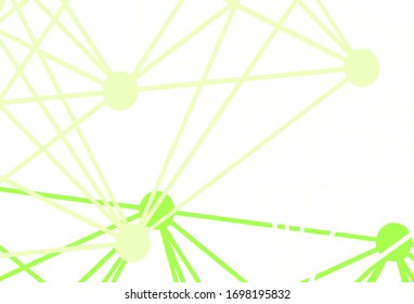 Light Green vector template with artificial intelligence structure. Colored AI structure with gradient lines and dots. Design for depiction of cyber innovations.