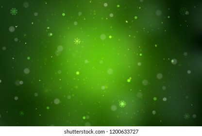Light Green vector template with ice snowflakes. Shining colored illustration with snow in christmas style. New year design for your ad, poster, banner.