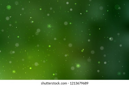 Light Green vector template with ice snowflakes. Blurred decorative design in xmas style with snow. The template can be used as a new year background.