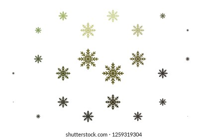 Light Green vector texture with colored snowflakes. Glitter abstract illustration with crystals of ice. New year design for your ad, poster, banner.