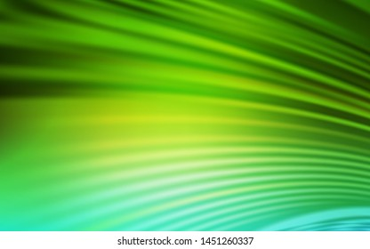 Light Green vector texture with curved lines. Colorful illustration in abstract style with gradient. Colorful wave pattern for your design.