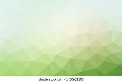Light Green vector triangle mosaic template. Shining illustration, which consist of triangles. Textured pattern for background.