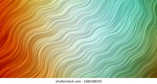 Light Green, Yellow vector background with wry lines. Gradient illustration in simple style with bows. Pattern for websites, landing pages.