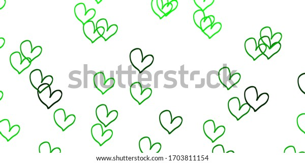 Light Green, Yellow vector background with Shining hearts. Beautiful colored illustration with hearts in celebration style. Pattern for carnival, festival romantic leaflets.