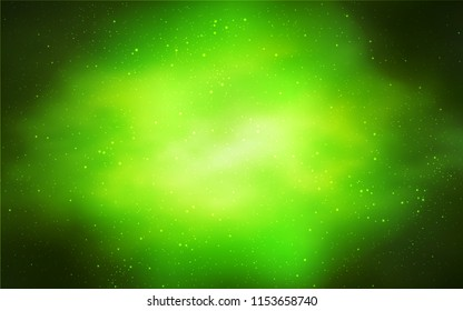 Light Green, Yellow vector layout with cosmic stars. Glitter abstract illustration with colorful cosmic stars. Pattern for astronomy websites.