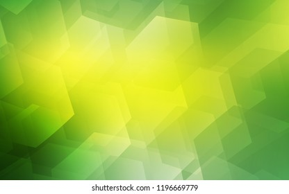 Light Green, Yellow vector layout with hexagonal shapes. Glitter abstract illustration in hexagonal style. Pattern for ads, leaflets.