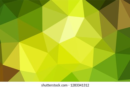 Light Green, Yellow vector low poly cover. Glitter abstract illustration with an elegant triangles. Pattern for a brand book's backdrop.