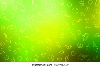 Light Green, Yellow vector pattern with delicious cookies. Illustration with set of sweet food in doodle style. Pattern for ad, booklets, leaflets of restaurants.