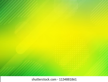 Light Green, Yellow vector pattern with rounded lines, dots. Shining colored illustration with rounded stripes, dots. The pattern can be used for websites.