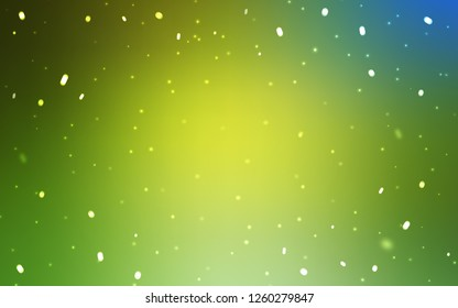 Light Green, Yellow vector pattern with christmas snowflakes. Colorful decorative design in xmas style with snow. Pattern for new year websites.
