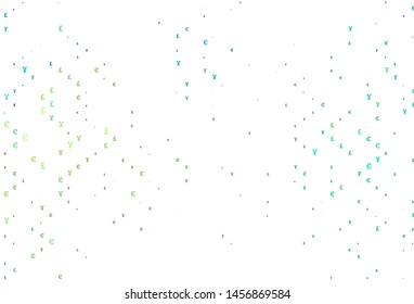 Light Green, Yellow vector pattern with EUR, JPY, GBP. Blurred design in with symbols of EUR, JPY, GBP. The pattern can be used as ads, poster, banner for payments.