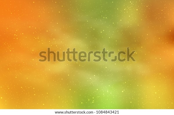 Light Green, Yellow vector pattern with night sky stars. Shining colored illustration with bright astronomical stars. Smart design for your business advert.